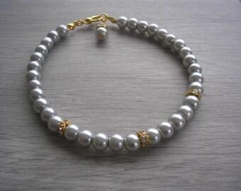 Bridesmaid Pearl Bracelet, Ladies Pearl Bracelet, Pearl Gold Diamante Bracelet, Gold Wedding Jewelry, Bridal Bracelet, Girls jewelry, 2RDBGP
