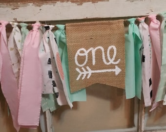 Mint Pink Boho Banner, Feather Decorations, Feather One Banner