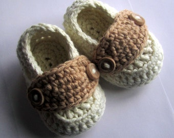 Baby Booties Cotton Little Button Loafers sizes Newborn through 12 months You Choose Size and Colors