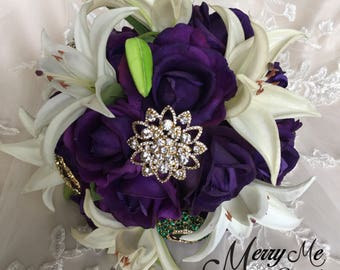 Purple and White Bouquet - Purple and Off White Bouquet - Purple Bouquet - Dark Purple Bouquet - Realistic Purple Bouquet - Purple Bridal