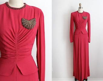 1940s Vintage Pink, Fuschia Crepe Gown, Dress