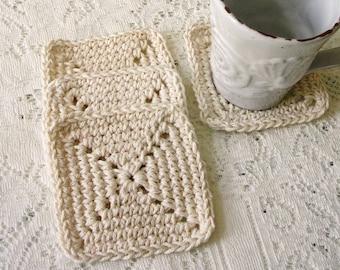 Crochet Coaster Set – Ecru Square Cotton Coasters  - Modern Minimalist Yarn Coaster - Drink Coasters Handmade