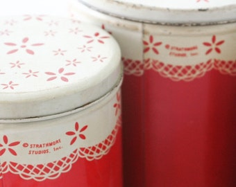 Strathmore Red Doily Round Cylindrical Canister Set of Three