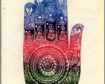 Thai traditional art Hand of Buddha by printing on Mulberry paper Card