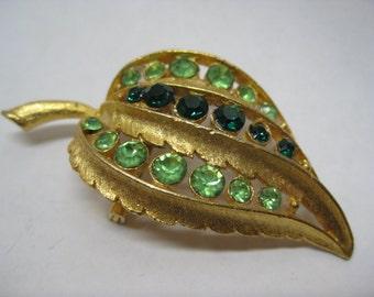 Leaf Green Rhinestone Brooch Gold Vintage Pin