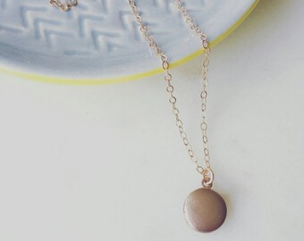 Tiny locket necklace on rose gold filled chain -rose gold locket