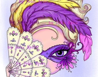Digital Stamps, Digi stamp, Coloring pages, Mask, Girl stamp, Venice stamp, Mask stamp Fantasy. The Venice Collection. The Secrets of Venice