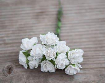 12pics White Paper Roses Bouquet Flowers Miniature Flowers Mulberry Paper Small Roses Small Flowers Boutonniere Roses Wedding Decor Flowers