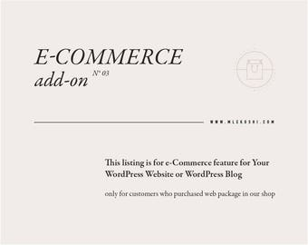 e-Commerce Add-On — Add On-line Shop to Your Website — e-Commerce Installation — Shop Feature for Your Web / Blog — e-Commerce for WordPress