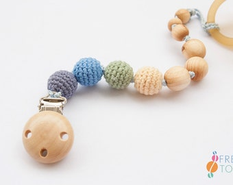 Wood Pacifier Clip   Organic Cotton, Juniper   Soother Clip   Dummy Chain   Pacifier Chain   Baby Boy Gift