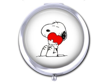Snoopy and Heart Compact - Choose Compact Mirror or Pillbox with Mirror - Choose Finish Bronze Silver - Pocket Folding Mirror - Snoopy Gift
