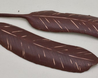 Copper Prairie Chicken feather sculpture offered in multiple colors