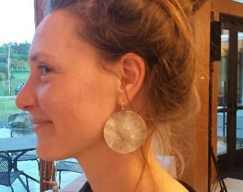 Meghan's Full Moon Solstice Earrings Large Sterling Disk Earrings Metalsmith Earrings Moon Phase Vermont Artisan