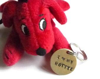 I Love My Rottie Keychain, Rottweiler Dog Mom Key Ring