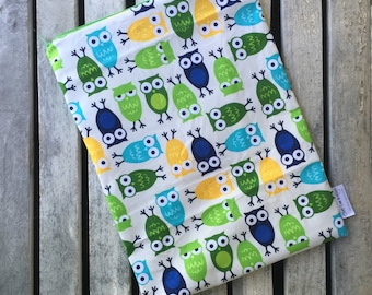 "Travel wet bag 10""x13""- Owls-optional strap available-"