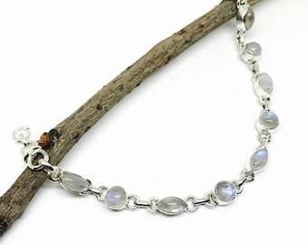 ON SALE Moonstone  bracelet set in sterling silver (92.5).Natural moonstones.Adjustable length with lobster clasp.