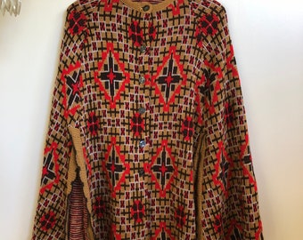 Vintage Aztec Print Red Brown Beige Poncho Cape // Knit Cape with Slits