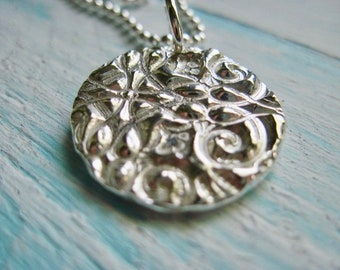 Fine Silver Ornate Necklace, Floral Design, Bead Ball Chain