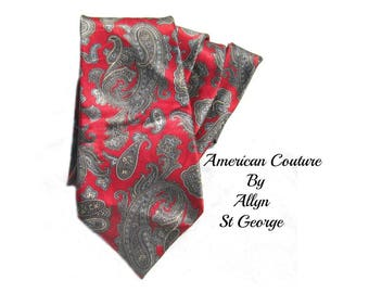 Paisley tie - floral paisley tie - red paisley tie - retro man accessories - 1980's 90's tie - awesome tie - trendy tie - # T 51