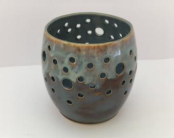 Candle holder, blue luminary, tealight holder, blue candle holder, clay lantern, pottery candle holder, DL18110