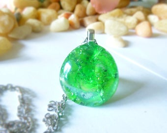 Glorious green glass necklace