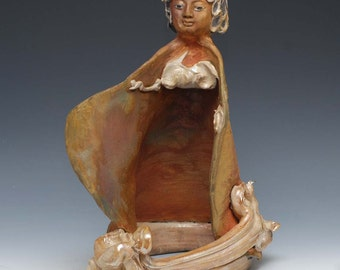 Ceramic Figurative Sculpture Kwan Yin Goddess Statue In Golden Raku Clouds