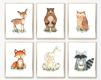 Printable Nursery Art Set of 6. Forest Nursery Decor. Boy Nursery Art. Boy Woodland Nursery Art. Woodland Nursery Prints. Forest Animals Art