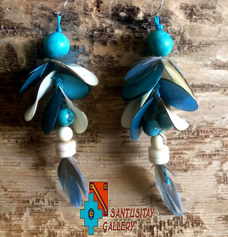Acai tagua seeds Macau feathers hand crafted earrings hand made sky blue turquoise ecrue macrame natural jungle forest tribal gift