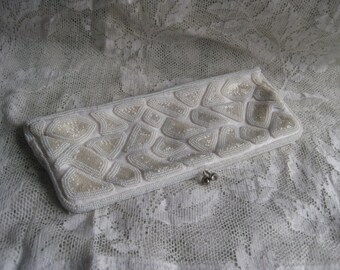 1940's Handbeaded Clutch Bag Vintage White Bridal