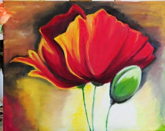 Original oil painting, poppy, Poppies oil painting