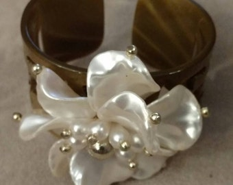 Tortoise Filigree Cuff Bracelet, Large Pearl Colored Floral Arrangement Accent, Boho, Comfortable, Lightweight, LOW SHIPPING