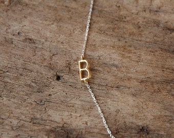 sideways initial necklace, initial necklace, monogram necklace, personalized necklace, custom letter necklace, birthday gift