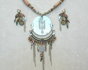 Long China Mod Necklace, Whimsical Pendant & Earrings, Copper/Brass/Silver Beads and Chain, Statement Necklace Set, by SandraDesigns