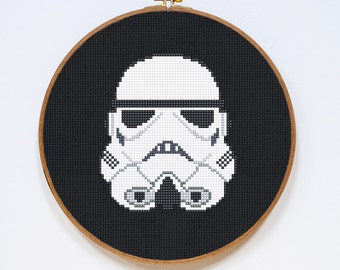 Stormtrooper Cross Stitch Pattern, Classic Star Wars Storm Trooper Helmet Easy Cross Stitch Chart, StarWars, Old School, Instant Download