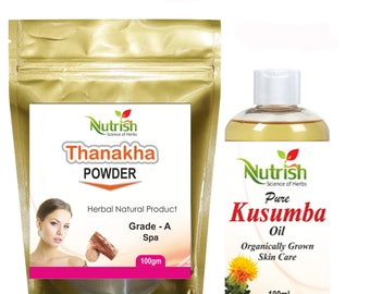 Thanaka Powder  Herbal Grade- A and Kusumba Oil For Hair Removal Permanent By Nutrish