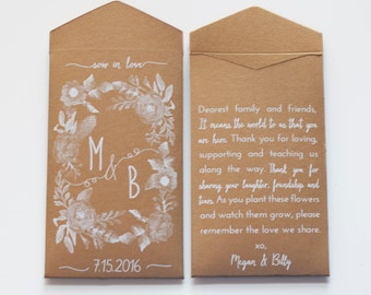 Custom Antique Gold Seed Packet Wedding Favor Envelopes - Shimmer Seed Packet Favors - Rustic Seed Envelope Favor - Many Colors Available