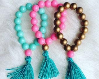 Girls tassel bracelet set.. Tassel bracelets.. Tassel jewelry.. Girls bracelets