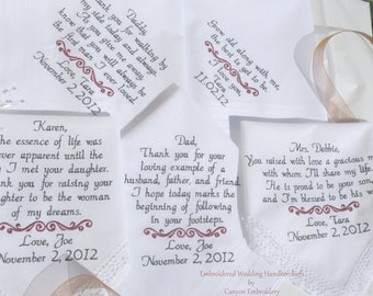 Personalized Wedding Gift, Embroidered Wedding Handkerchiefs, Set of Five, By Canyon Embroidery on ETSY
