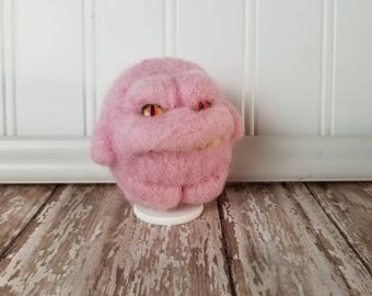 Adorable Needle Felted Wool Toothy Monster- Tiny Eyes, Light Pink
