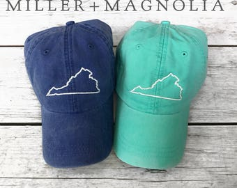 State Outline Cap   Virginia   ANY STATE -  Monogram Ball Cap - Monogram Cap - Monogram Hat - Monogrammed Cap