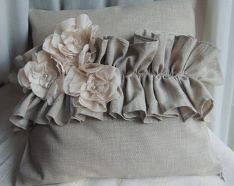 Raw cloth pillow with three flowers