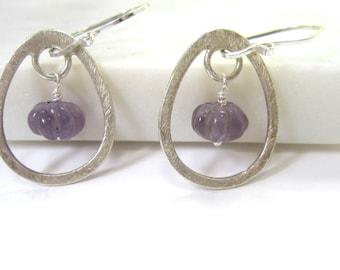 Amethyst Earrings, Carved Stone Earrings, Sterling Silver, Gift for Graduation, Brushed Silver Earrings, Friend Gift, February Birthstone