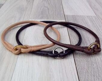 Haut de gamme rond en cuir Dog TAG collier