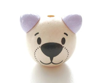 Wooden 3D Teddy bear head bead - natural & purple