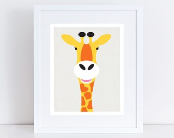 giraffe nursery art print - wild animal nursery prints safari, african, illustration, gender neutral baby girl or boy, bright, nursery decor
