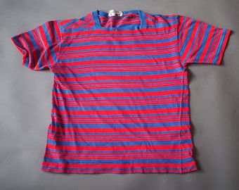 60s Striped Surfer T Shirt / Vintage 1960s Surf Skateboarder Stripe Tee / Medium