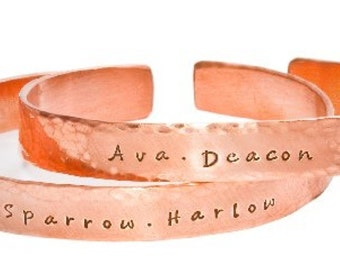 Personalized Hand Stamped Bracelet  As Seen in US Weekly Magazine  Hammered Copper Cuff