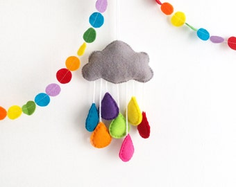 Felt Cloud with Rainbow Raindrops Mobile decoration /  ornament