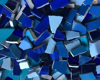 Blue Mosaic Tiles - 200 Solid Color Mix cut from Broken Plates