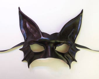 Black Cat Leather Mask costume very lightweight easy to wear entirely handcrafted